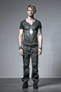 Punk Rave Gothic Skull Deep V Neck Short Sleeved T Shirt Green T-354