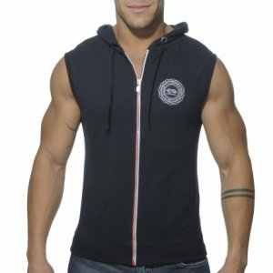 ES Collection Pique Hoody With Full Zip Sleeveless Sweater Navy SP049