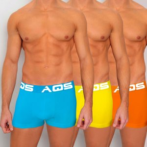 AQS [3 pack] Sport Boxer Brief Underwear Orange/Light Blue/Yellow SOLY