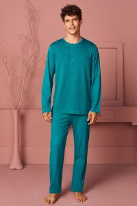 Doreanse Pocket Henley Long Sleeved T Shirt & Pants Set Loun...