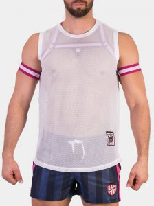 Barcode Berlin Jannis Mesh Muscle Top T Shirt White 91433-200