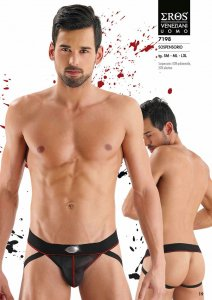 Eros Veneziani Contrast Stitching Stripe & Sheer Jock Strap Underwear Black/Red 7198