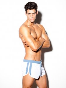 N2N Bodywear Sport Split Shorts White/Blue SP1_12