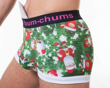 Bum-Chums Christmas Hipster Boxer Brief Underwear Green