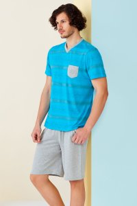 Doreanse Pocket Stripe V Neck Short Sleeved T Shirt & Shorts Set Pyjamas Loungewear 4514