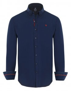 Giorgio Di Mare Worked Long Sleeved Shirt Navy GI9759264