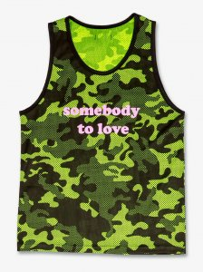 Barcode Berlin Somebody To Love Camouflage Tank Top T Shirt Neon Green/Black 91403-518