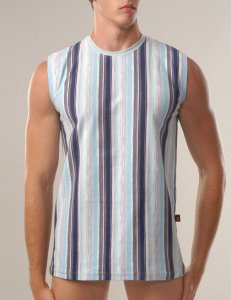 Geronimo Stripes Sleeveless Muscle Top T Shirt Blue 344