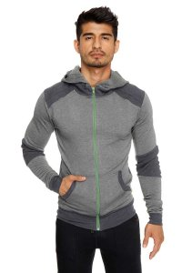 4-rth Mid Weight Fleece Crossover Hoodie Sweater Charcoal