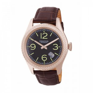Heritor Automatic Barnes Leather-Band Watch w/Date - Rose Go...
