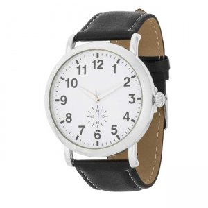 J. Goodin Leather Strap Classic Wrist Watch Black/Silver/Whi...