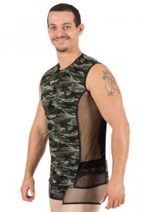 Lookme Military Semi Transparent Muscle Top T Shirt Camo 58-...