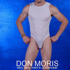 Don Moris Fantasy Sheer Muscle Top Brief Bodysuit White DM080867