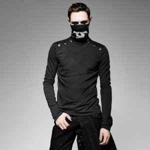 Punk Rave Gothic Mafia High Neck Skull Long Sleeved T Shirt ...