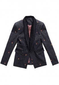 Spy Henry Lau Embroidery Denim Shawl Collar Tailor Jacket Black SP788AA42LWRHK