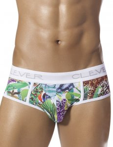 Clever Clever Leopard Piping Brief Underwear White 5261