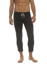 4-rth 4/5 Zipper Pocket Capri Yoga Pants Solid Black