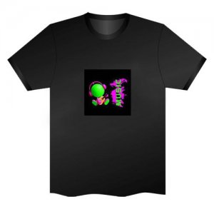 LED Electro Luminescence Music Boy Funny Gadgets Rave Party Disco Light T Shirt Black 31760