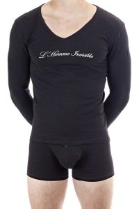 L'Homme Invisible Logo V Neck Long Sleeved T Shirt Black MY7...