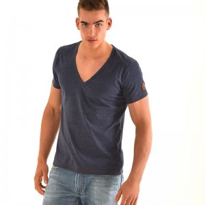 Roberto Lucca Deep V Neck Short Sleeved T Shirt Jeans Blue RL150S0224-00805