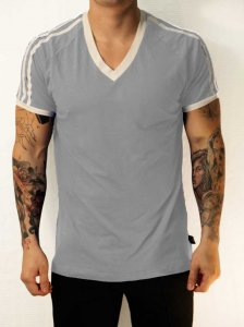 Whittall & Shon Athletic Shoulder Stripes V Neck Short Sleeved T Shirt Grey/White 168