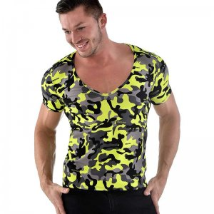 Roberto Lucca Slim Fit Camo V Neck Short Sleeved T Shirt Neon Yellow 90223-11171