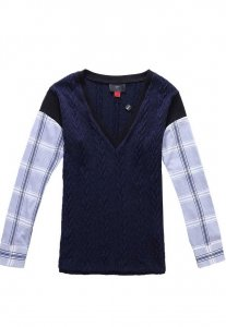 Spy Henry Lau Knitted & Woven Deep V Neck Long Sleeved T Shirt Blue SP788AA53LWGHK
