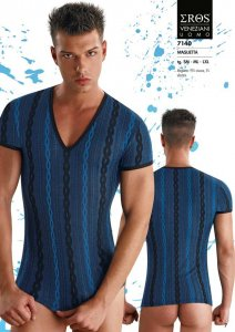 Eros Veneziani Chain & Stripe V Neck Short Sleeved T Shirt 7140