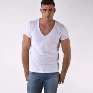 Roberto Lucca Regular Fit Deep V Neck Short Sleeved T Shirt White 70224-00010