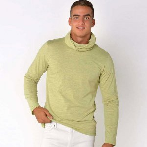 Roberto Lucca Detachable Neck Scarf Long Sleeved T Shirt Green Melange 70220-11147