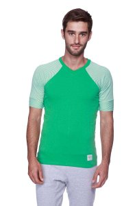 4-rth Raglan Virtual Crew Neck Stripe Short Sleeved T Shirt Green/White