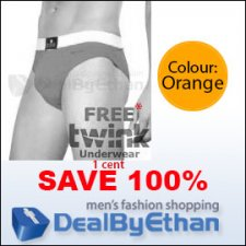 Twink Solid Glovebox Classic Brief FREE Men's Underwear Oran...