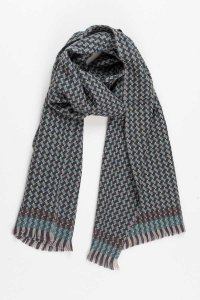 L'Homme Invisible Pine Forest Wool Scarf Celadon/Brown 574DI...