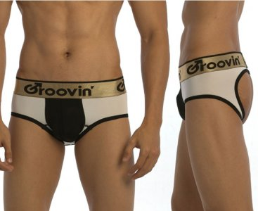 Groovin Bold Line Sports Jock Brief Jock Strap Underwear White/Black JK0221