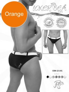 Icker Sea Sailor Belted Slip Bikini Swimwear Orange/White COB-12-141