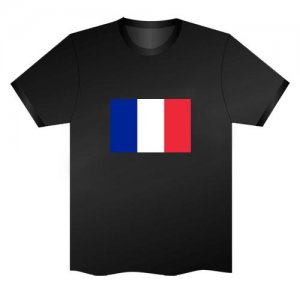 LED Electro Luminescence Flag Of France Funny Gadgets Rave Party Disco Light T Shirt Black 31794