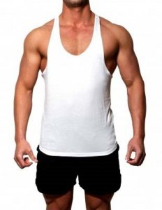 Gym Clothing Y Back Weight Training Tank Top T Shirt White