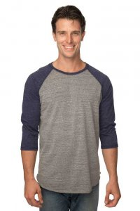 Royal Apparel Unisex Triblend Raglan Baseball Long Sleeved T Shirt Tri Vintage Grey/Tri Denim Navy 20060