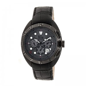 Reign Ronan Automatic Leather-Band Watch w/Day/Date - Black/Black/Charcoal REIRN3406
