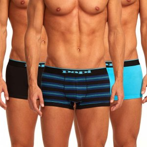 Papi [3 Pack] Cotton Stretch Brazilian Combo Trunk Underwear Turquoise 980503