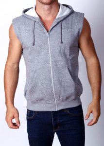 Gym Clothing Cut Off Sleeveless Zip Hoody Sweater Grey