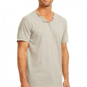 Papi Knit Jersey Henley Short Sleeved T Shirt Grey 627105