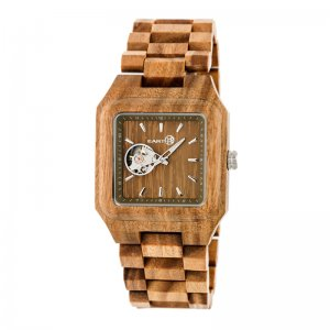 Earth Wood Black Rock Automatic Bracelet Watch - Olive ETHEW4404