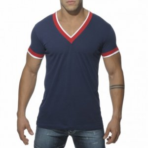 ES Collection Double Binding V Neck Short Sleeved T Shirt Navy TS103
