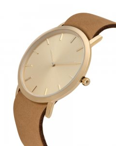Analog Watch Classic Gold Plated Dial & Tan Strap Watch GT-C...