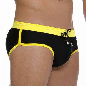 Gigo HOT BLACK/YELLOW Brief Swimwear GS02004-BLACK YELLOW