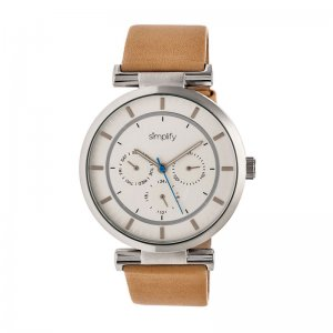 Simplify The 4800 Leather-Band Watch w/Day/Date - Silver/Silver/Khaki SIM4805