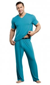 Male Power Bamboo V Neck Lounge Short Sleeved T Shirt Teal 102-171 USA1