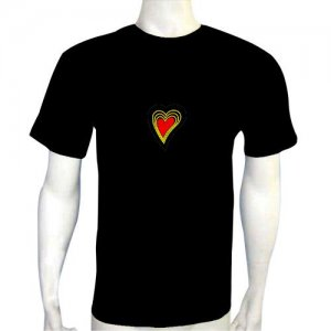 LED Electro Luminescence Heart Shaped Flash DJ Music Activated Equalizer T Shirt 12020