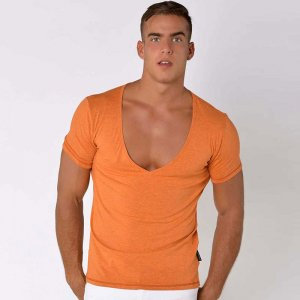 Roberto Lucca Slimt Fit Deep V Neck Short Sleeved T Shirt Orange Melange 70223-21222